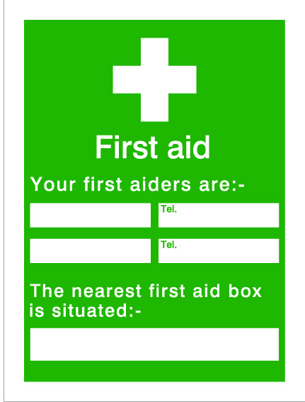 House Nameplate Co Your First Aiders - 15x20cm