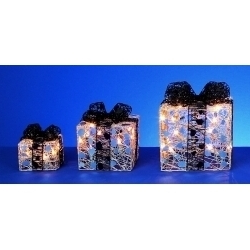 Premier Silver Parcels with Black Bow & Fairy Lights