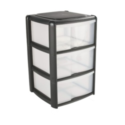 Tontarelli 3 Drawer Tower Black