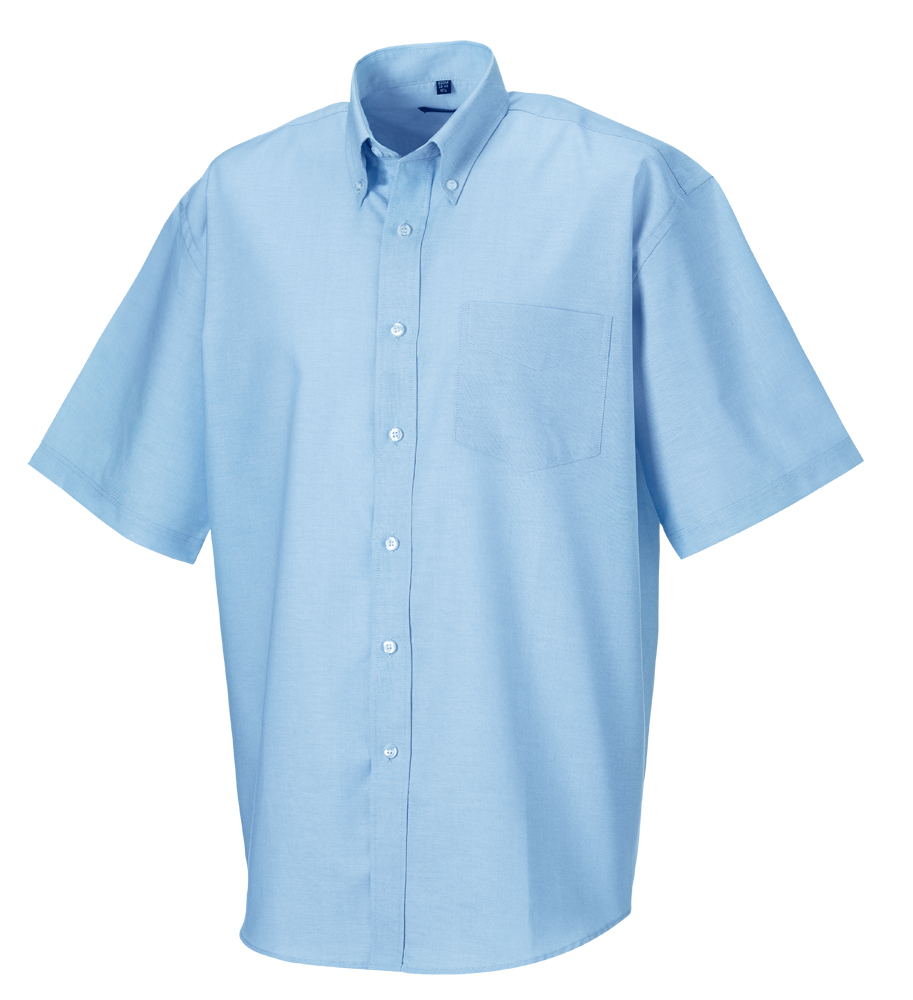 """Russell Collection Men's Short Sleeve Easy Care Oxford Shirt Aztec Blue - 15.5"""""""