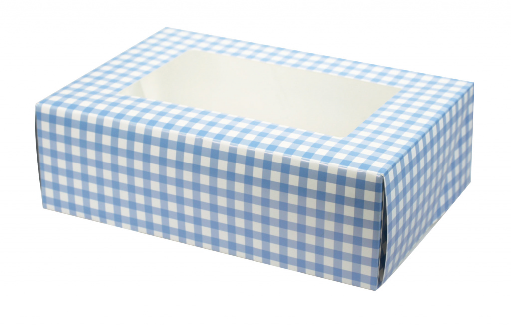 Culpitt Blue Gingham 6 Cupcake Box