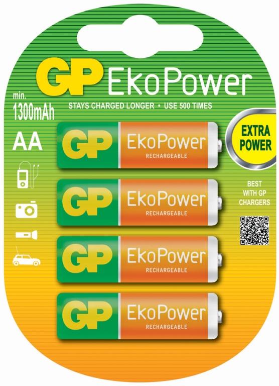 GP AA EkoPower Batteries - Pack 4