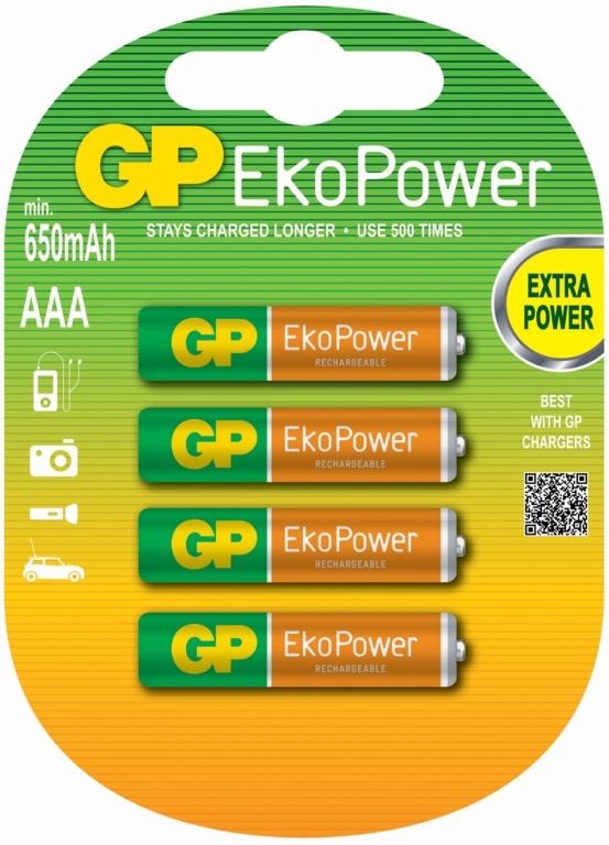 GP AAA EkoPower Batteries - Pack 4