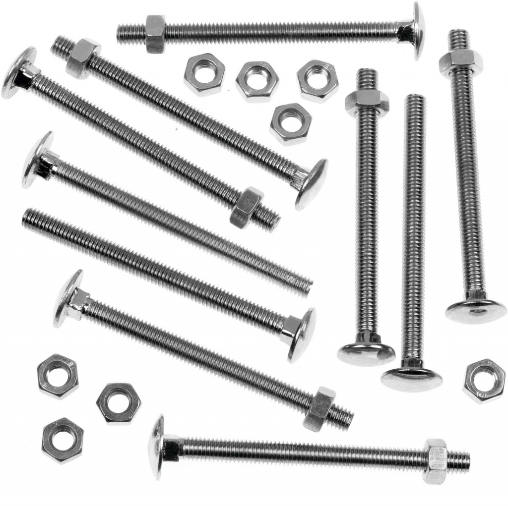 """Picardy Carriage Bolts With Hex Nuts - M6 x 3 15/16""""-M6 x 100mm 