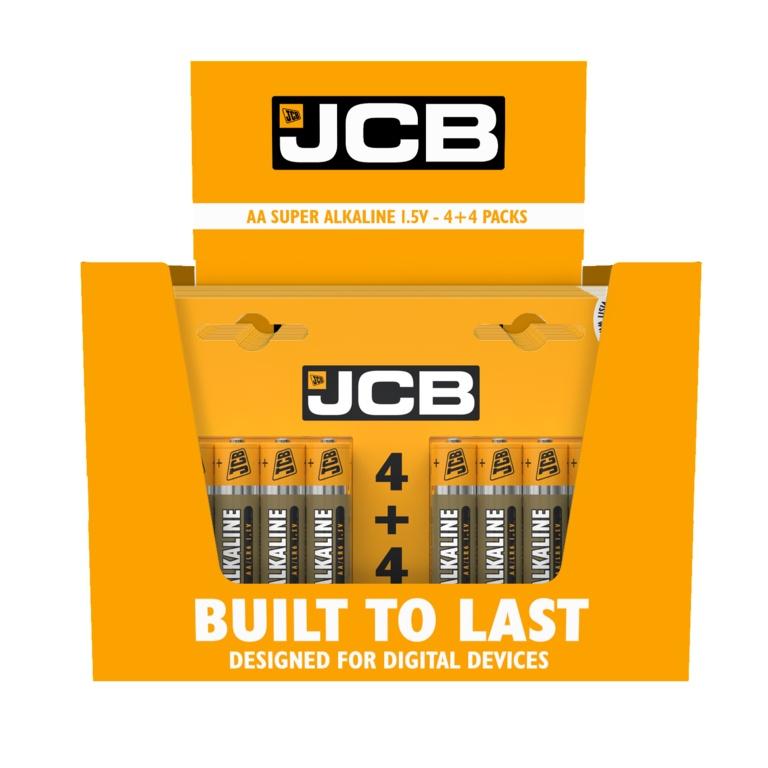 JCB Super Alkaline Batteries 4 Plus 4 - AA