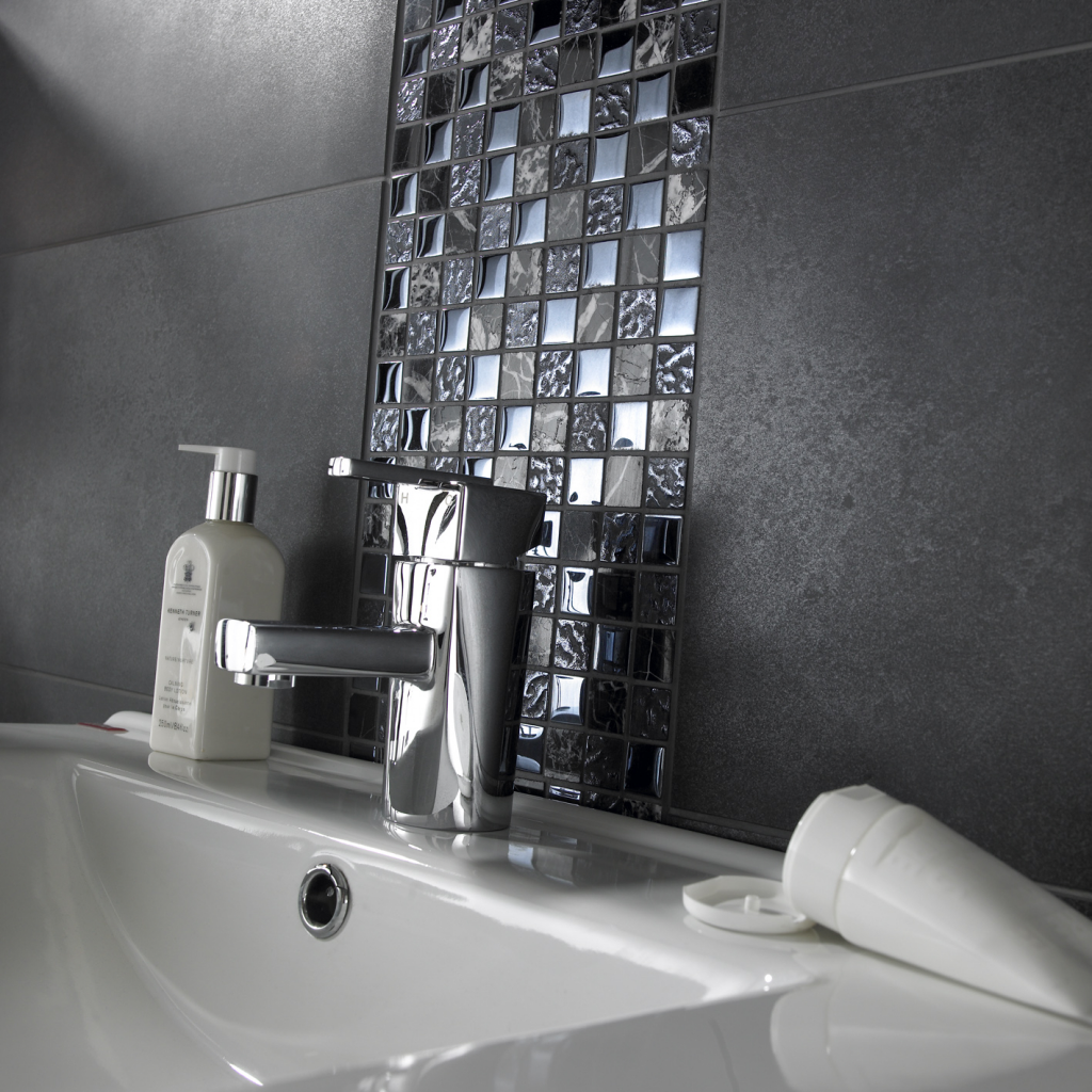 black mosaic tiles bathroom verona tiles glass mosaic single sheet 300 x 300mm stax 17409