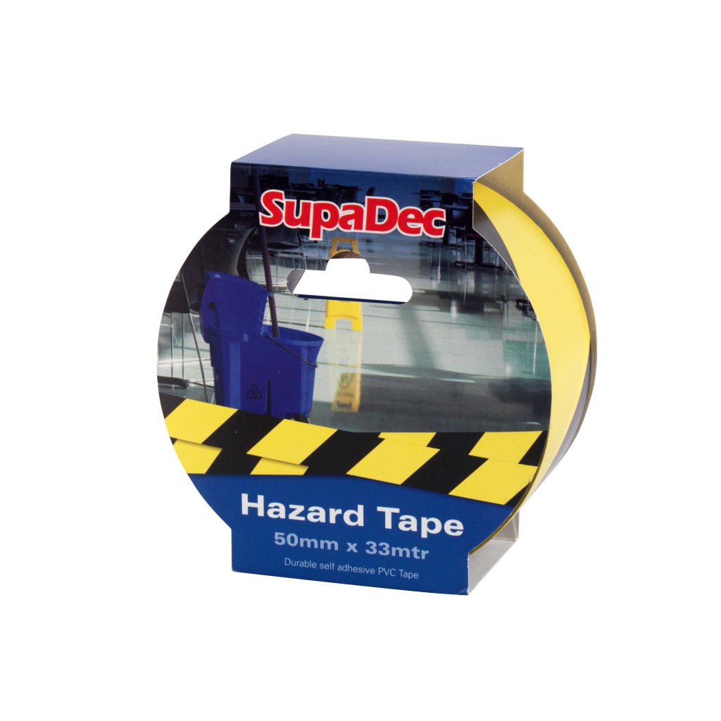 SupaDec Hazard Warning Tape - 50mm x 33m Yellow/Black