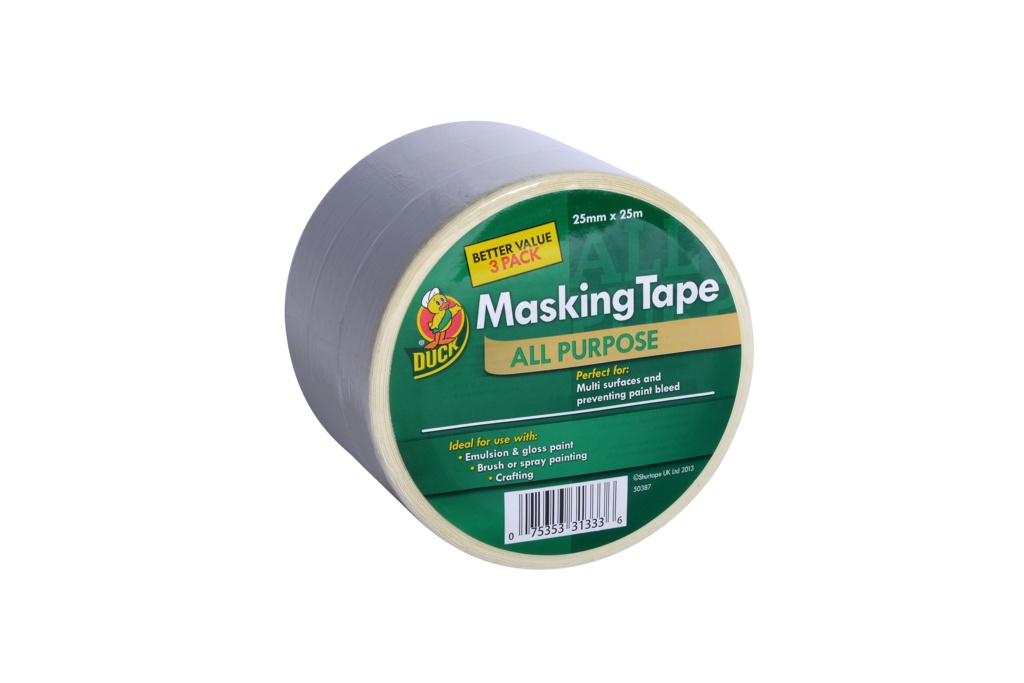 Duck Tape All Purpose Masking Tape - Beige 25mm x 25m Triple Pack