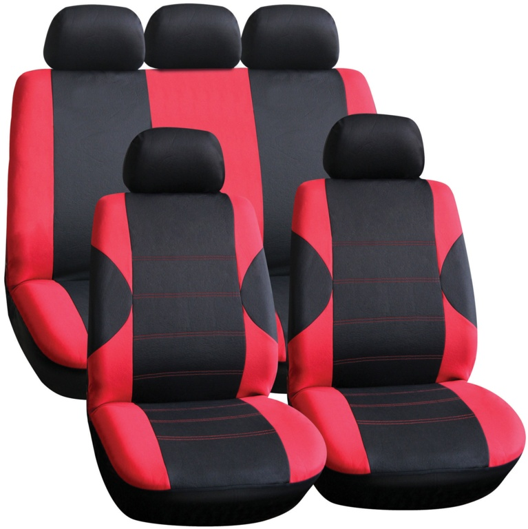 Streetwize Seat Cover Set - 11 Piece Red/Black