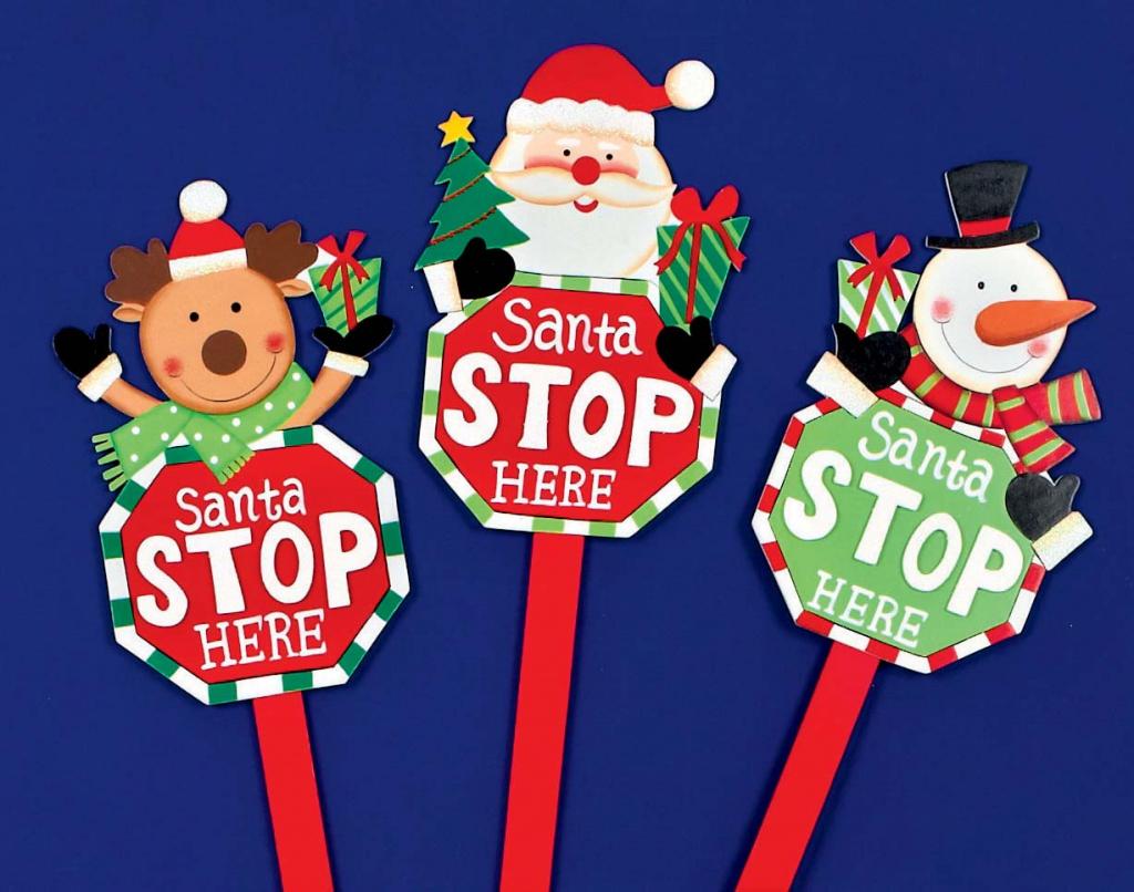 Premier Santa Stop Here Sign Santa/Snowman/Reindeer - 68cm