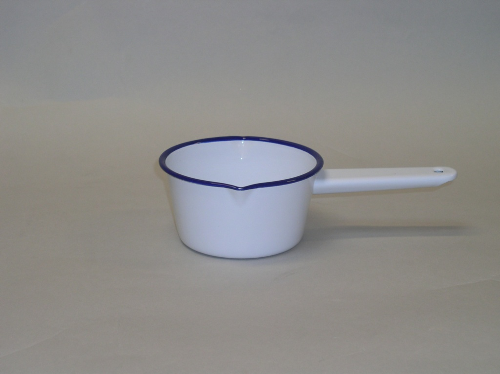 Falcon 14cm White Enamel Milk Pan - White Blue Rim