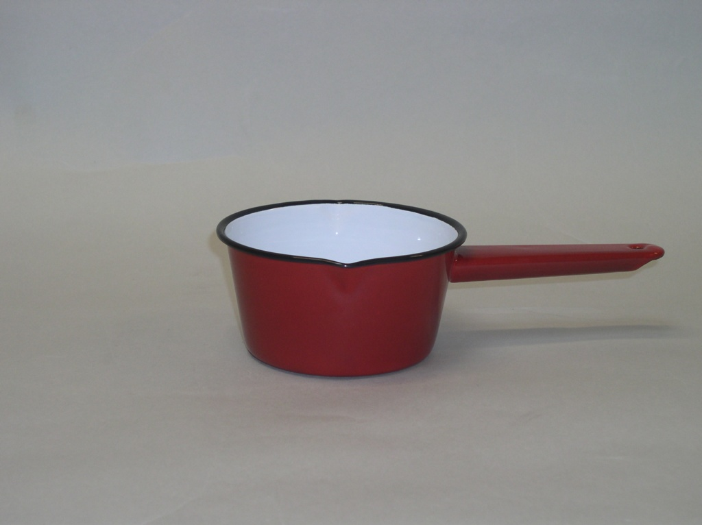 Falcon 14cm Red Enamel Milk Pan - Red Black Rim