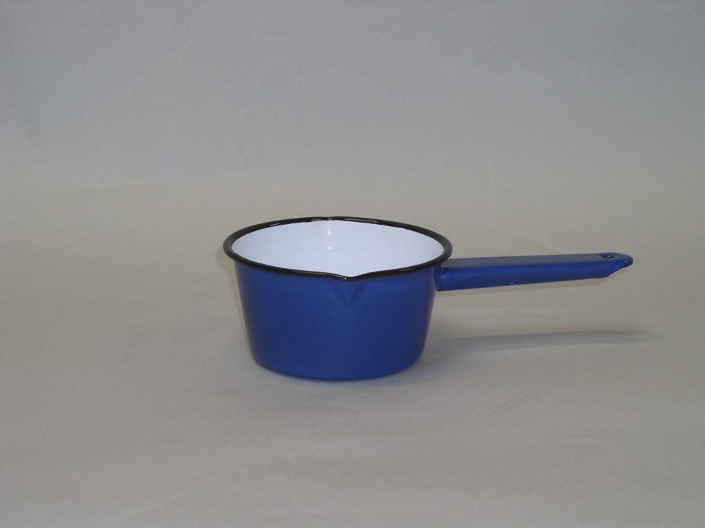 Falcon 14cm Blue Enamel Milk Pan - Blue Black Rim