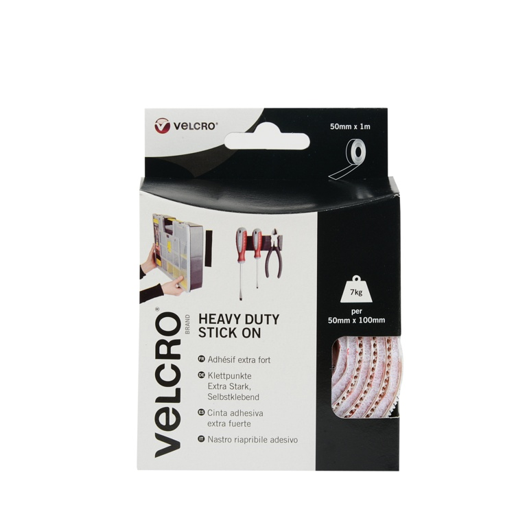 VELCRO® Brand Heavy Duty Stick On Tape - 50mm x 1m White