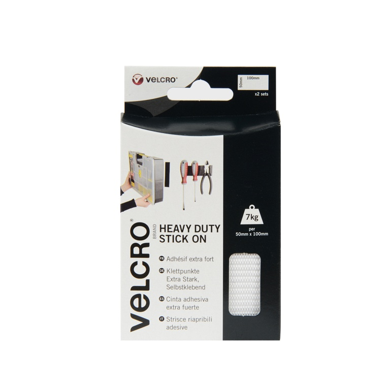 VELCRO® Brand Heavy Duty Stick On Strips - 50mmx100mm 2 Sets White