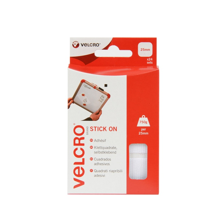 VELCRO® Brand Stick On Squares - 25mm White 24 Sets