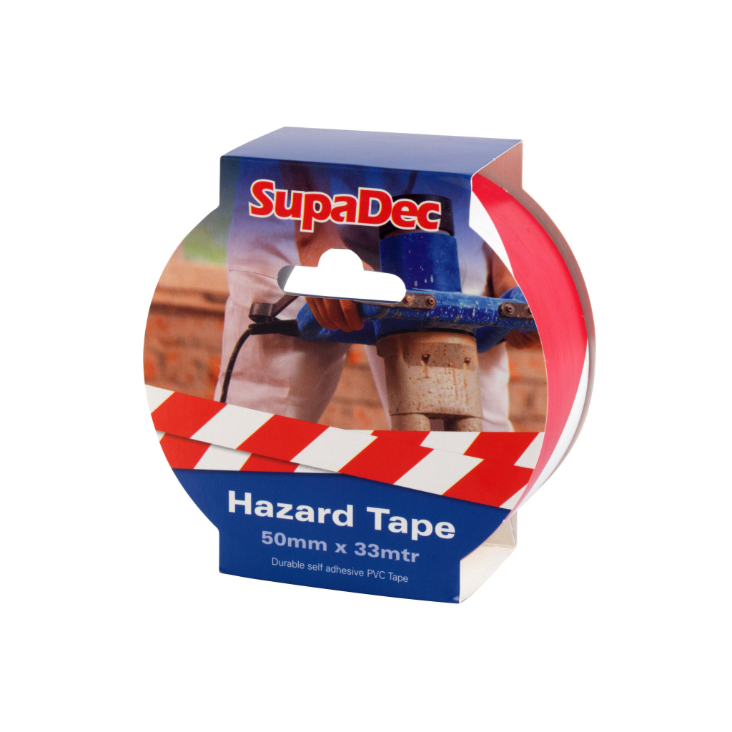 SupaDec Hazard Warning Tape - 50x33m Red/White