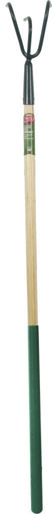 Ambassador Carbon Steel Long Handle 3 Prong Cultivator Wooden Handle - Length: 138cm. Foam Handle Length: 61cm