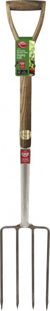 Ambassador Ash Handle Stainless Steel Digging Fork - Length: 105cm