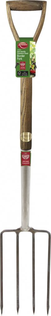 Ambassador Ash Handle Stainless Steel Border Fork - Length: 95cm