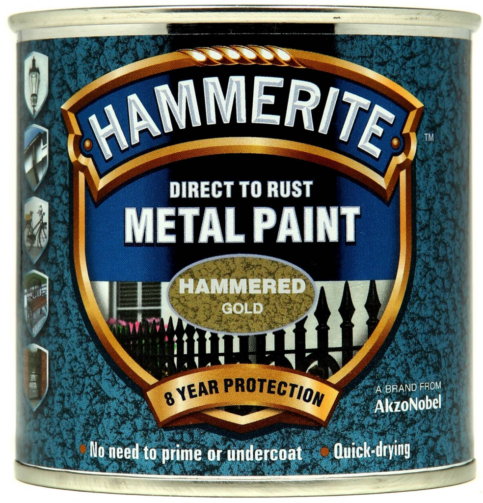 Hammerite Metal Paint Hammered 250ml - Gold