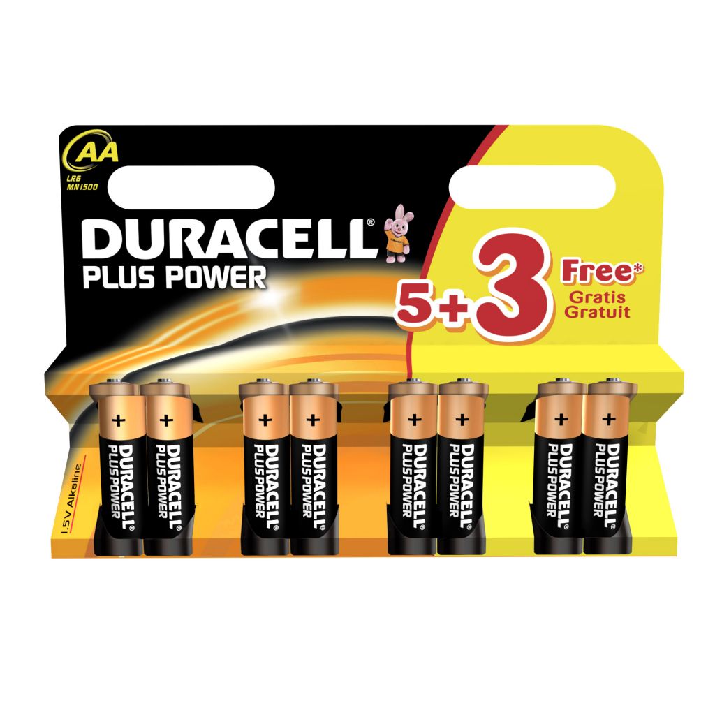 Duracell Plus Power Batteries 5 + 3 Free - AA