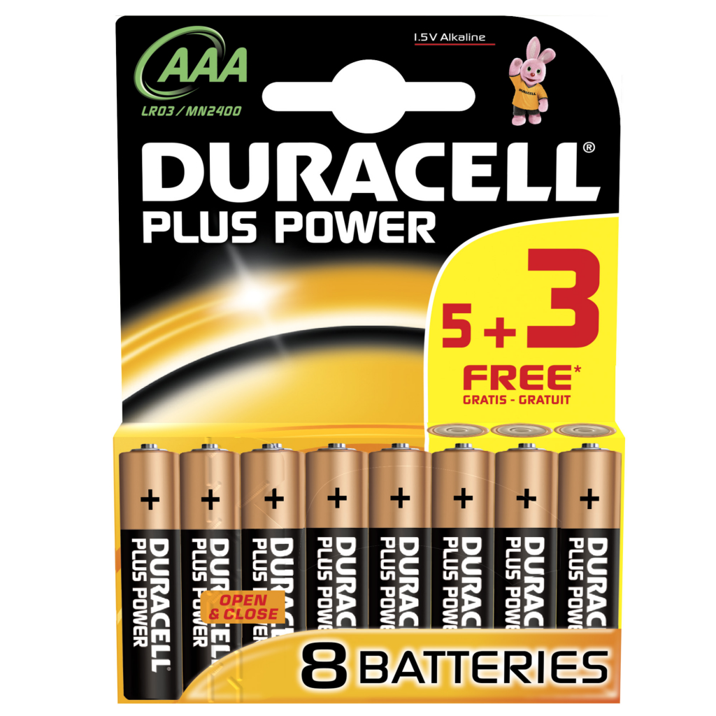 Duracell Plus Power Batteries 5 + 3 Free - AAA