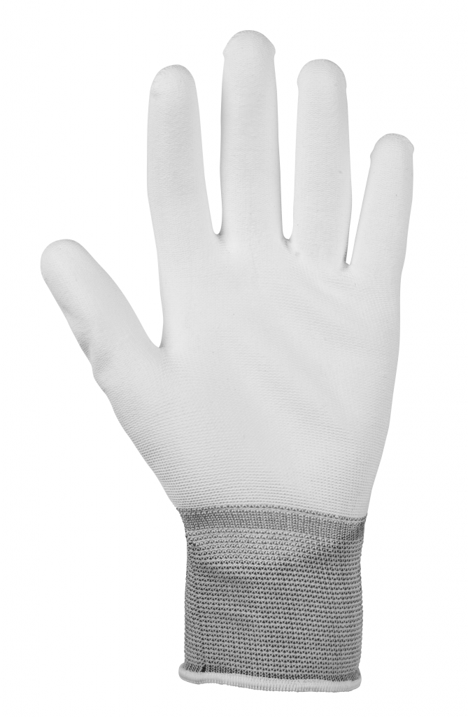 Glenwear White PU Gloves - Large 12 Pairs