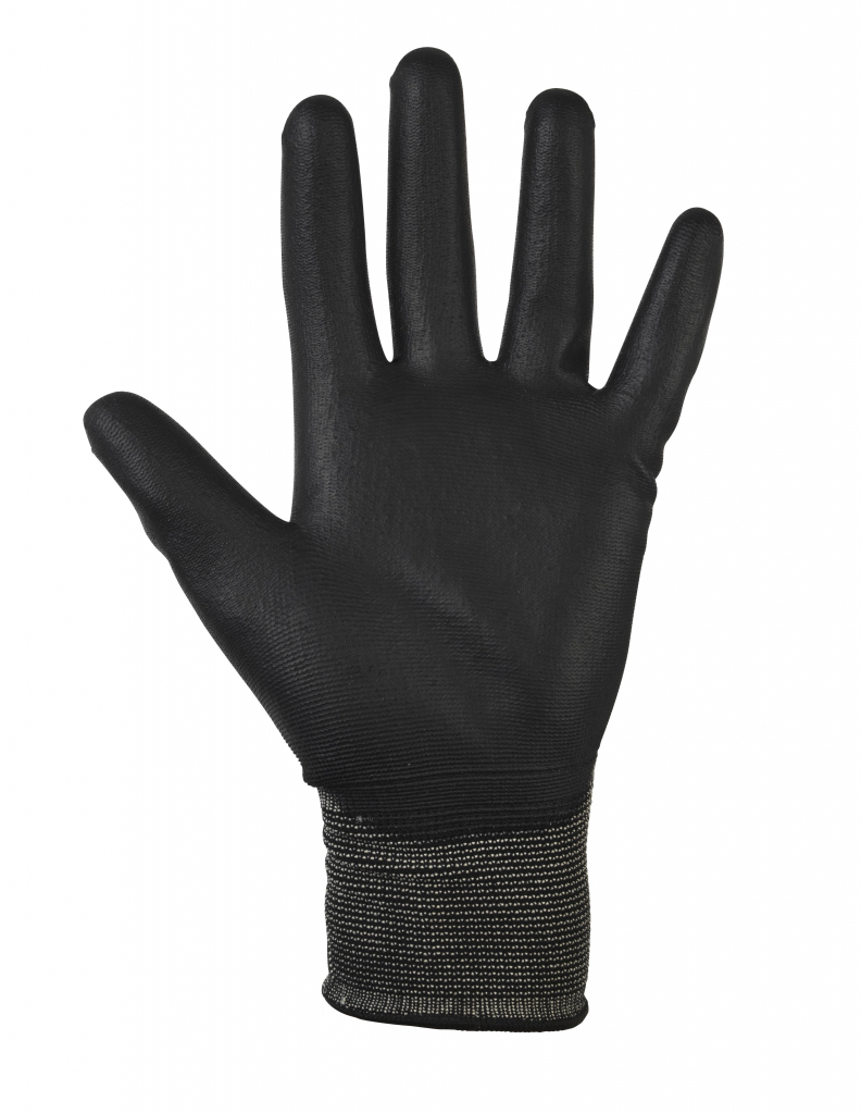 Glenwear Black PU Gloves - 9 - Large 12 Pairs