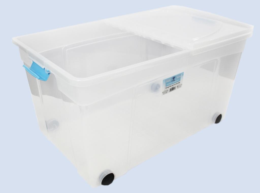 TML Clik N Store Box & Lid - 110L Clear With Wheels