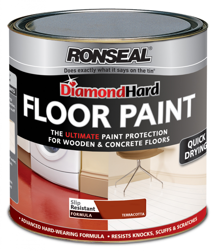Ronseal Diamond Hard Floor Paint 750ml - Terracotta