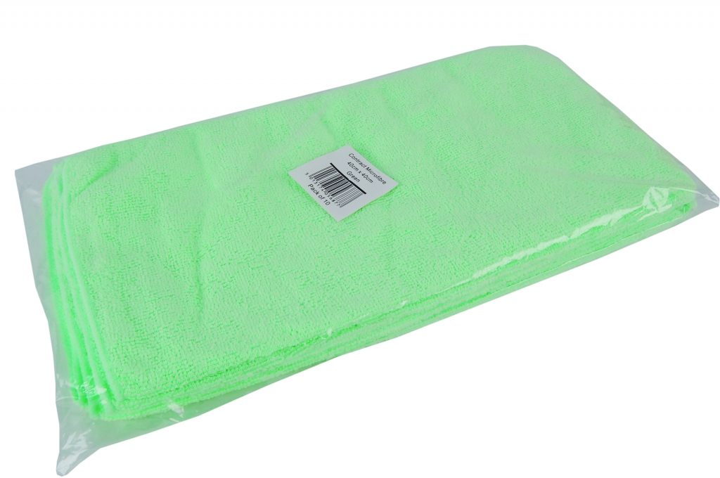 Robert Scott Contract Microfibre Cloth Pack 10 - Green