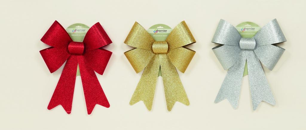 Premier Glitter Bow Red Gold Silver - 40x27cm