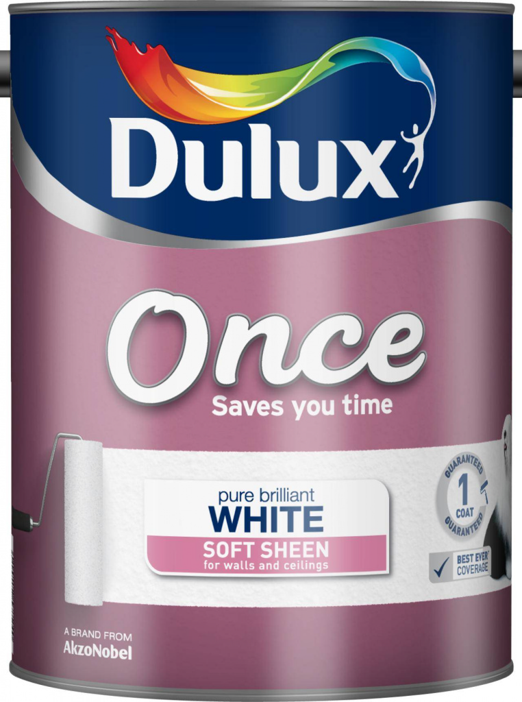 Dulux Once Soft Sheen 5L - Pure Brilliant White