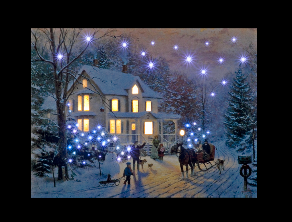 Snowtime Battery Operated Fibre Optic Canvas Stax Trade