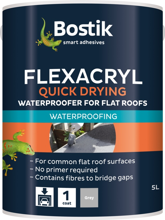 Bostik Flexacryl Waterproofer Solvent Free - 5L Grey
