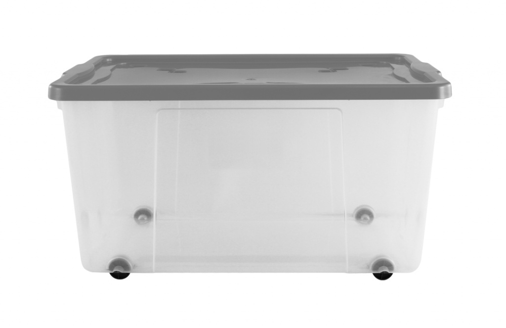 Premier Wheeled Box - 100L Clear / Platinum Lid & Wheels
