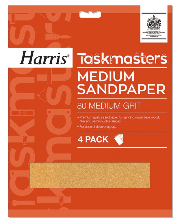 Harris Taskmasters Medium Sandpaper - 4 Pack - 4 Pack