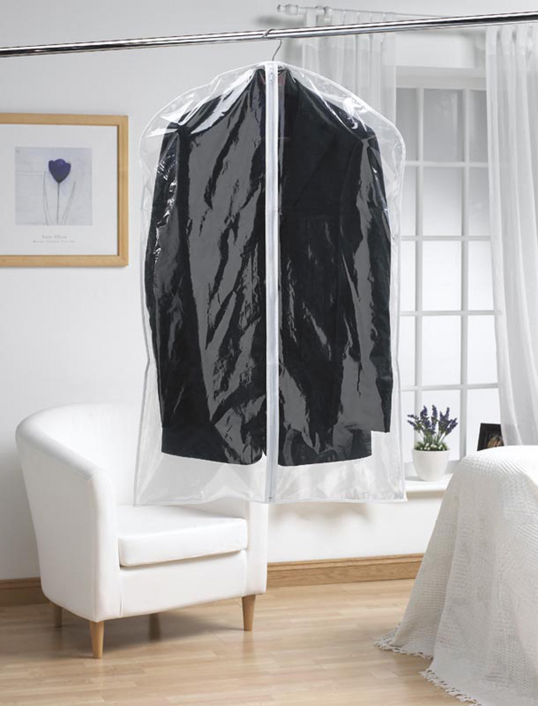 H & L Russel Short Garment Cover Twin Pack - Clear 97cm x 61cm