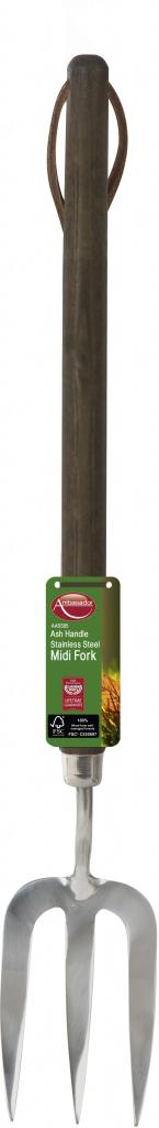 Ambassador Ash Handle Stainless Steel Midi Fork - Length: 46cm