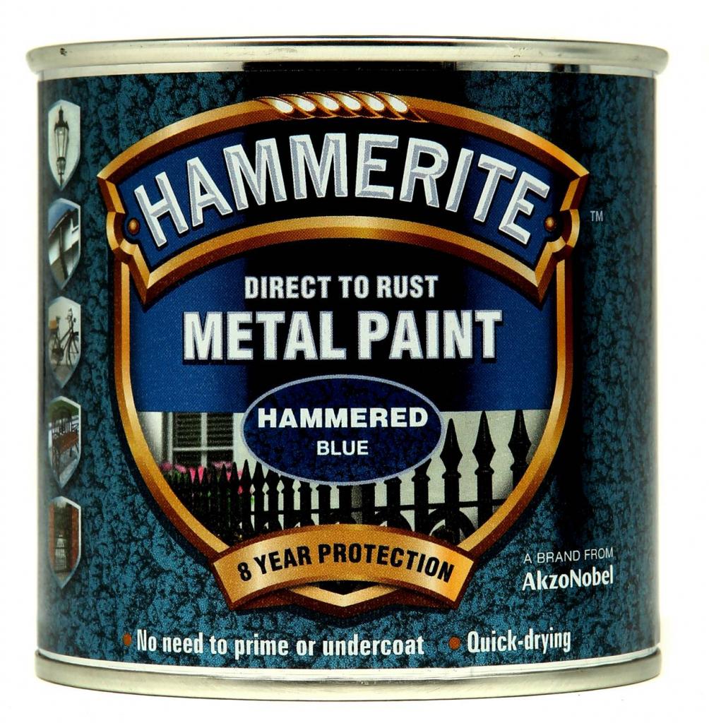 Hammerite Metal Paint Hammered 250ml - Blue