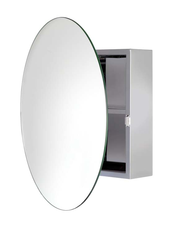 Anton Severn Stainless Steel Circular Mirror Cabinet
