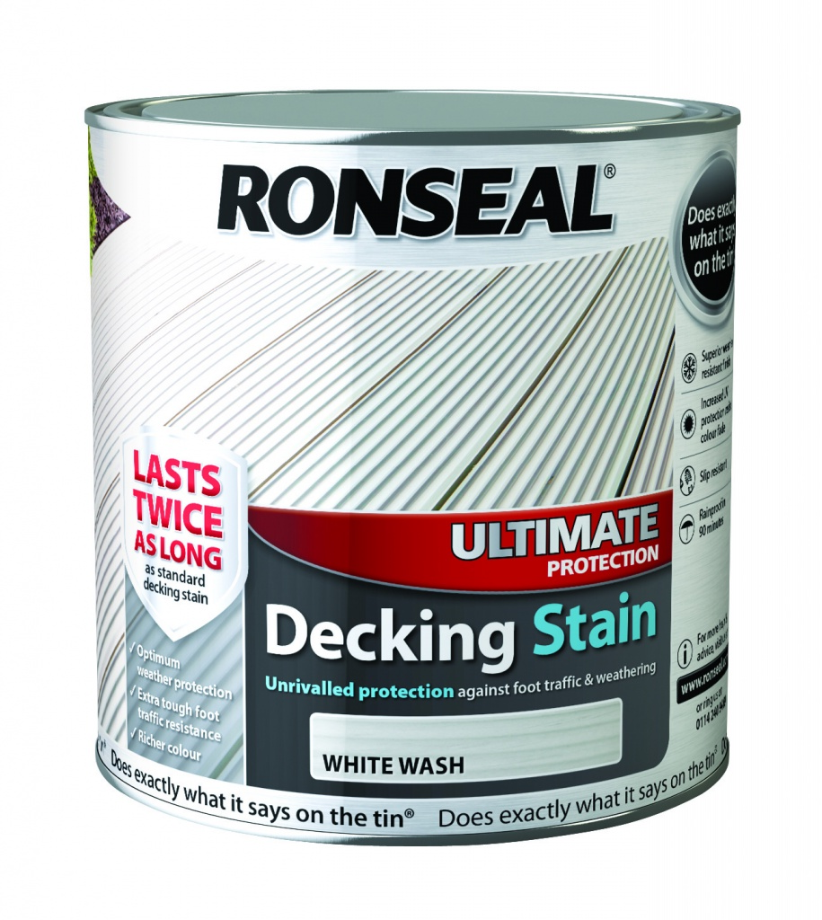 White Wash Gel Stain: Ronseal Ultimate Protection Decking Stain 2 5L