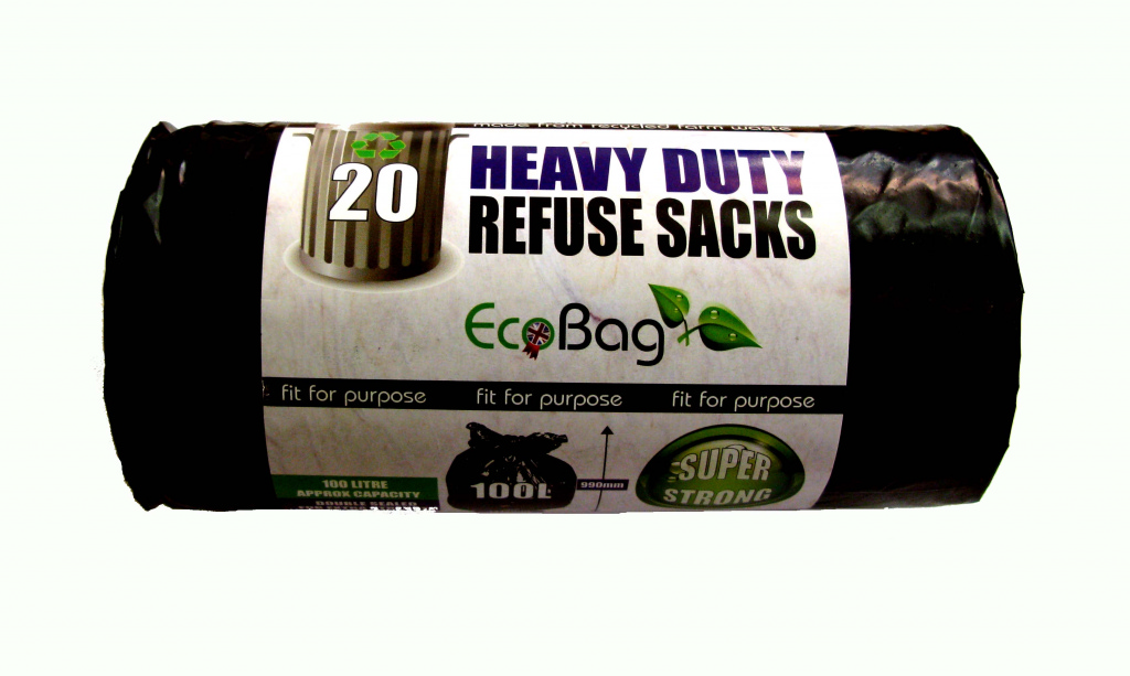 Ecobag Heavy Duty Refuse Sacks Black - 20 x 100L
