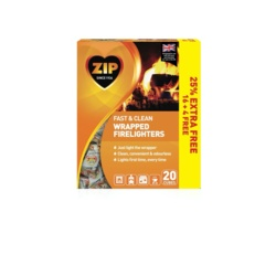 Zip Fast and Clean Wrapped Firelighters Pack 16 Plus 25 Free