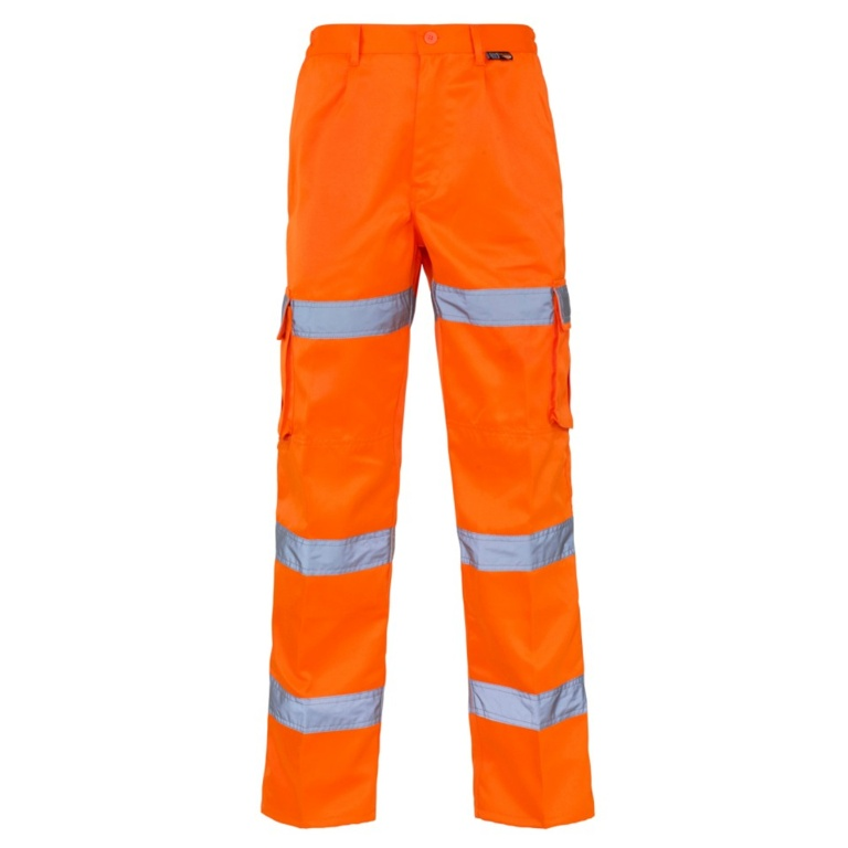 Supertouch Combat Hi Vis Trouser Orange Ankle Band 280GSM - 38R
