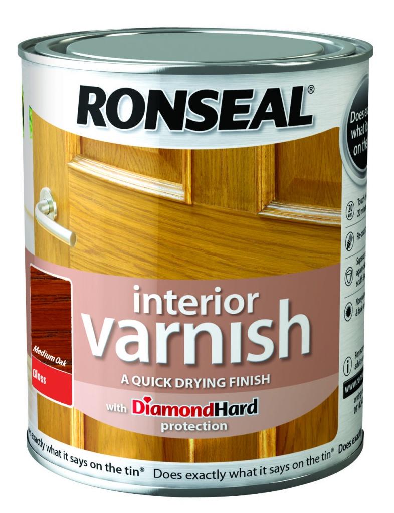 Ronseal Interior Varnish Gloss 250ml - Medium Oak