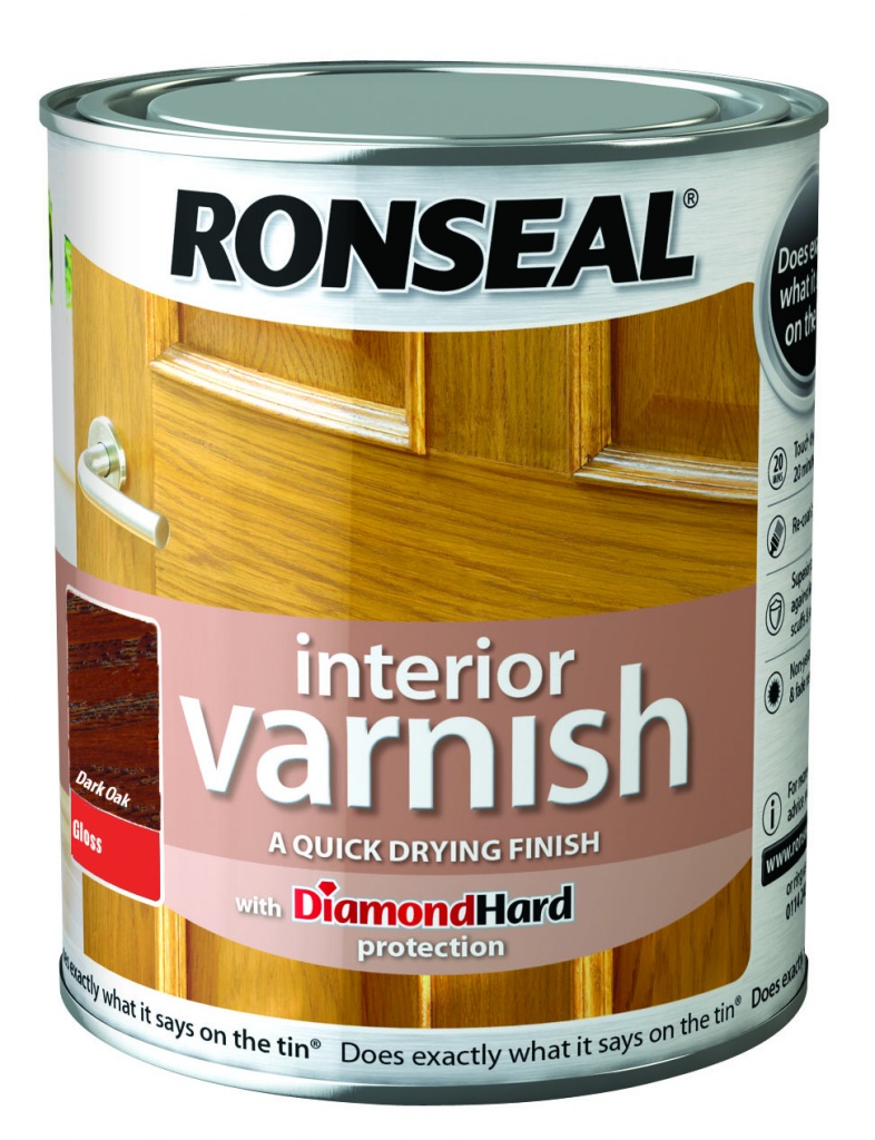 Ronseal Interior Varnish Gloss 750ml - Dark Oak