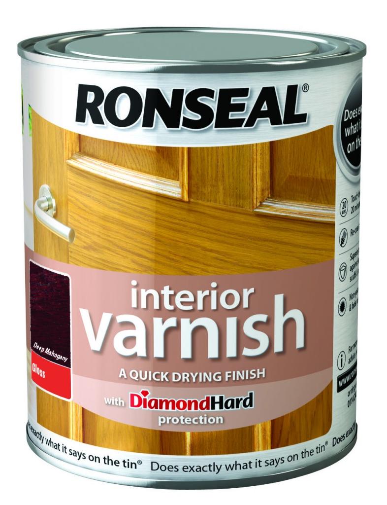 Ronseal Interior Varnish Gloss 750ml - Deep Mahogany