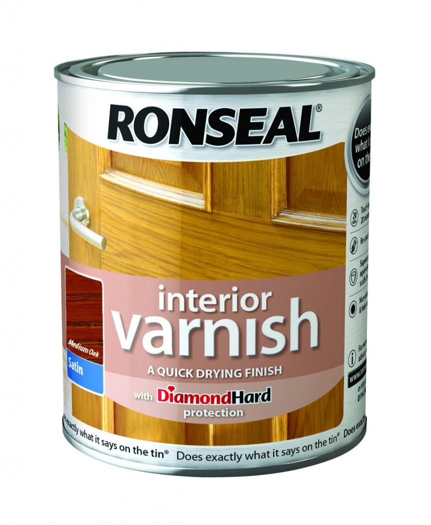 Ronseal Interior Varnish Satin 250ml - Medium Oak